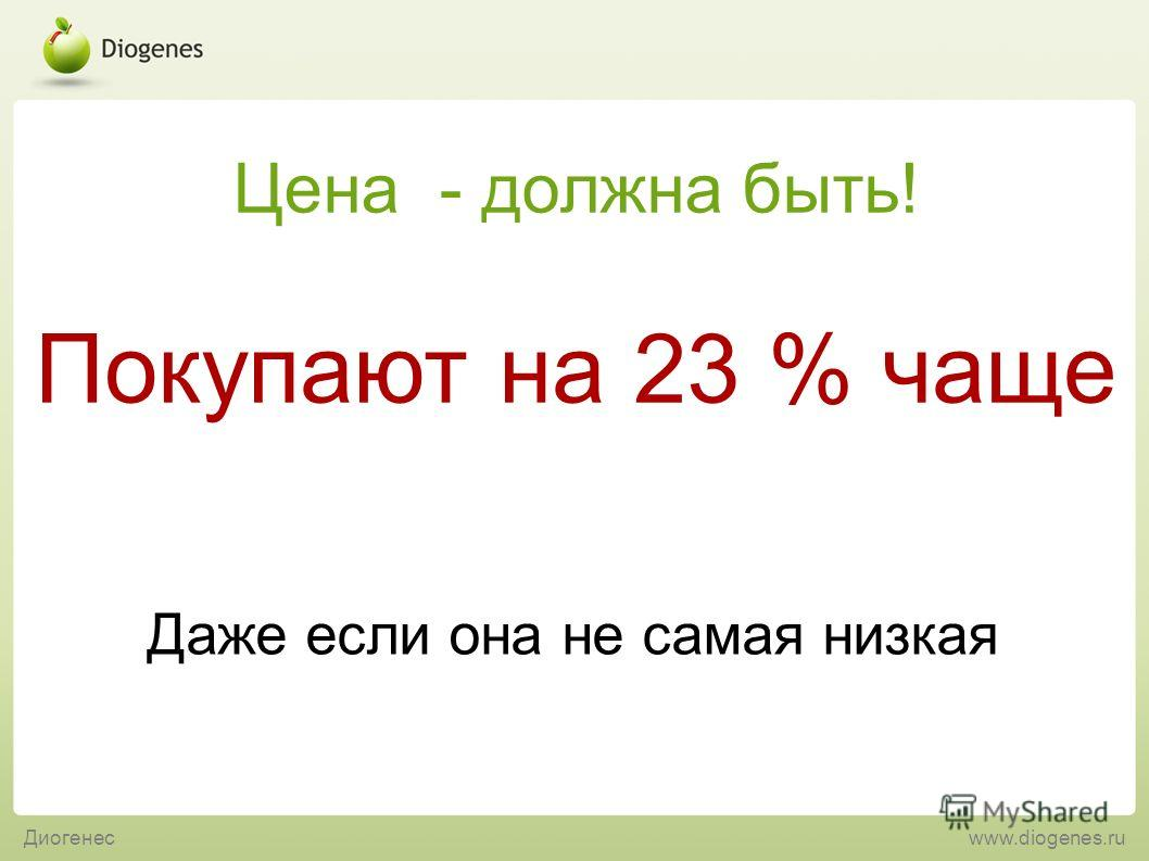 Даже если она не самая низкая Покупают на 23 % чаще Цена - должна быть! Диогенесwww.diogenes.ru