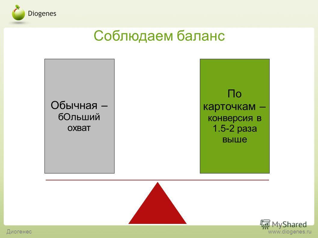Диогенесwww.diogenes.ru Соблюдаем баланс По карточкам – конверсия в 1.5-2 раза выше Обычная – бОльший охват