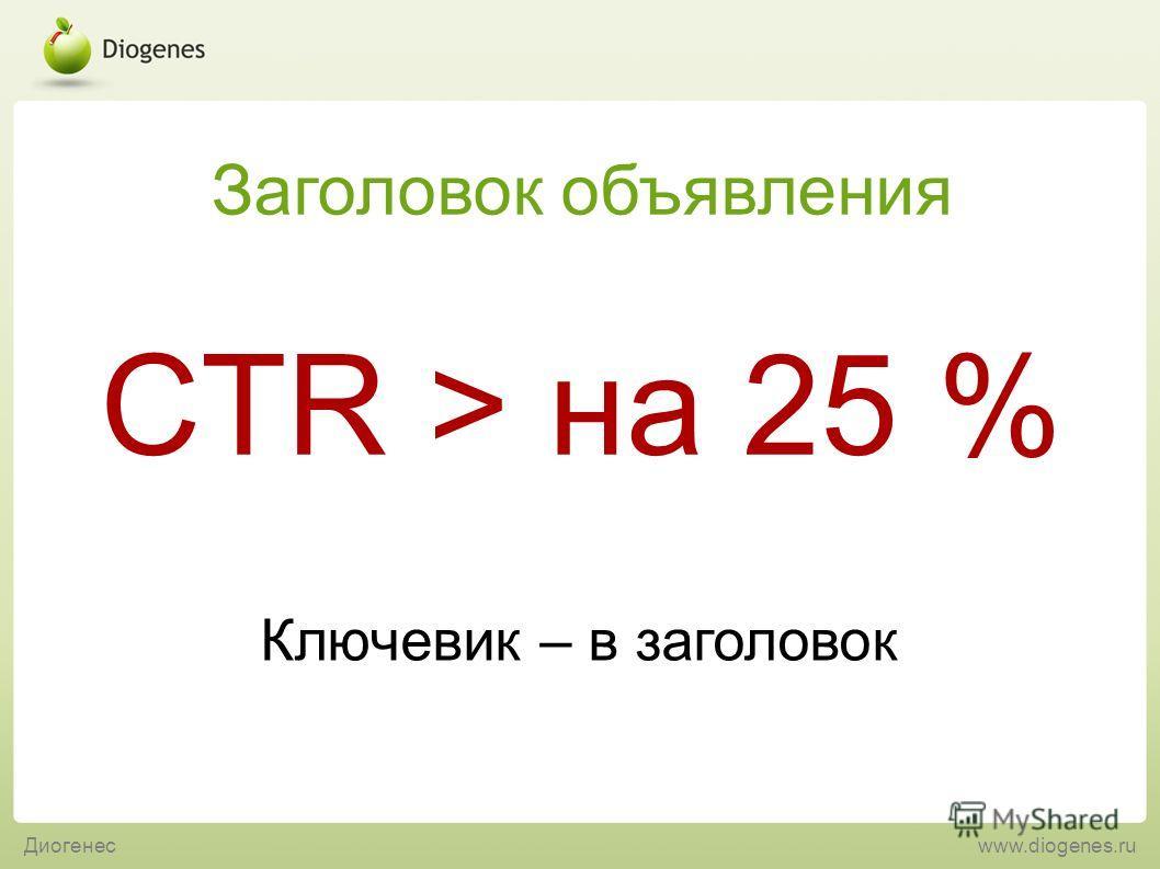 Ключевик – в заголовок CTR > на 25 % Заголовок объявления Диогенесwww.diogenes.ru