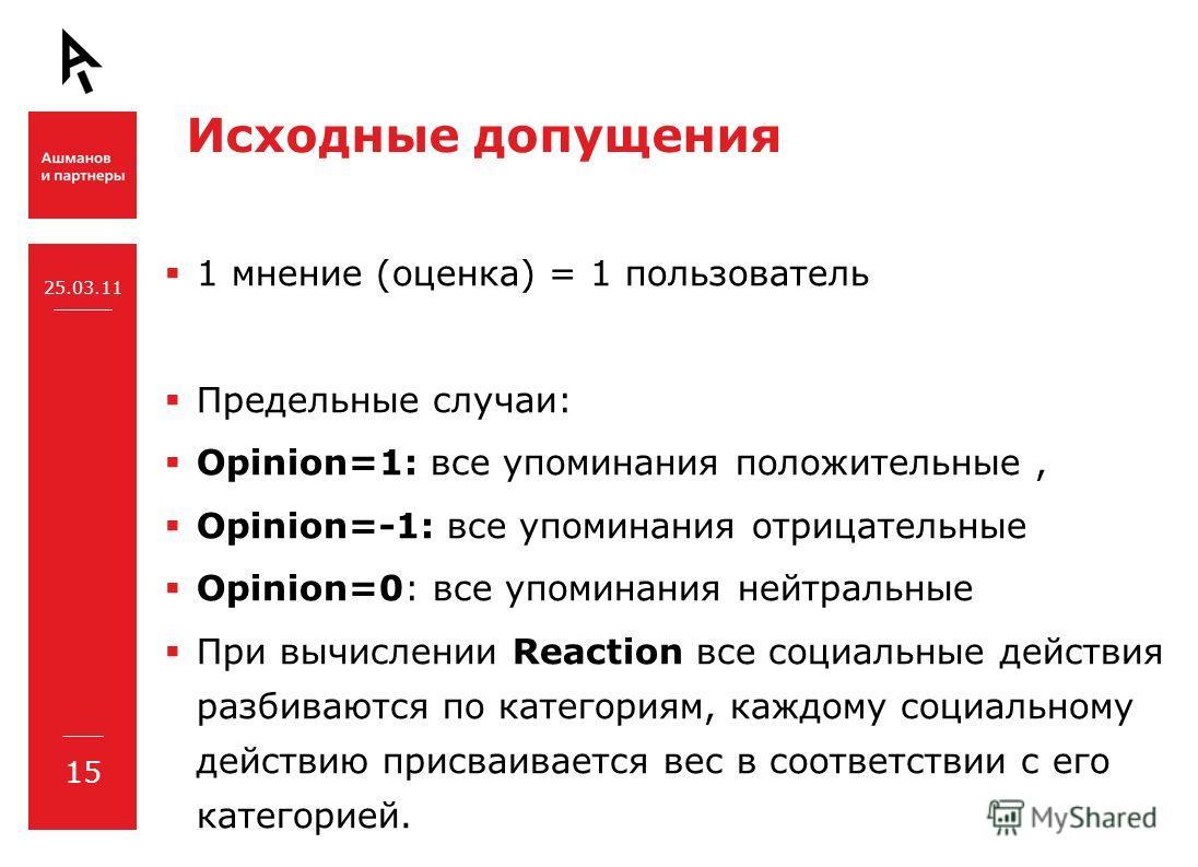 Исходные допущения 1 мнение (оценка) = 1 пользователь Предельные случаи: Opinion=1: все упоминания положительные, Opinion=-1: все упоминания отрицательные Opinion=0: все упоминания нейтральные При вычислении Reaction все социальные действия разбивают