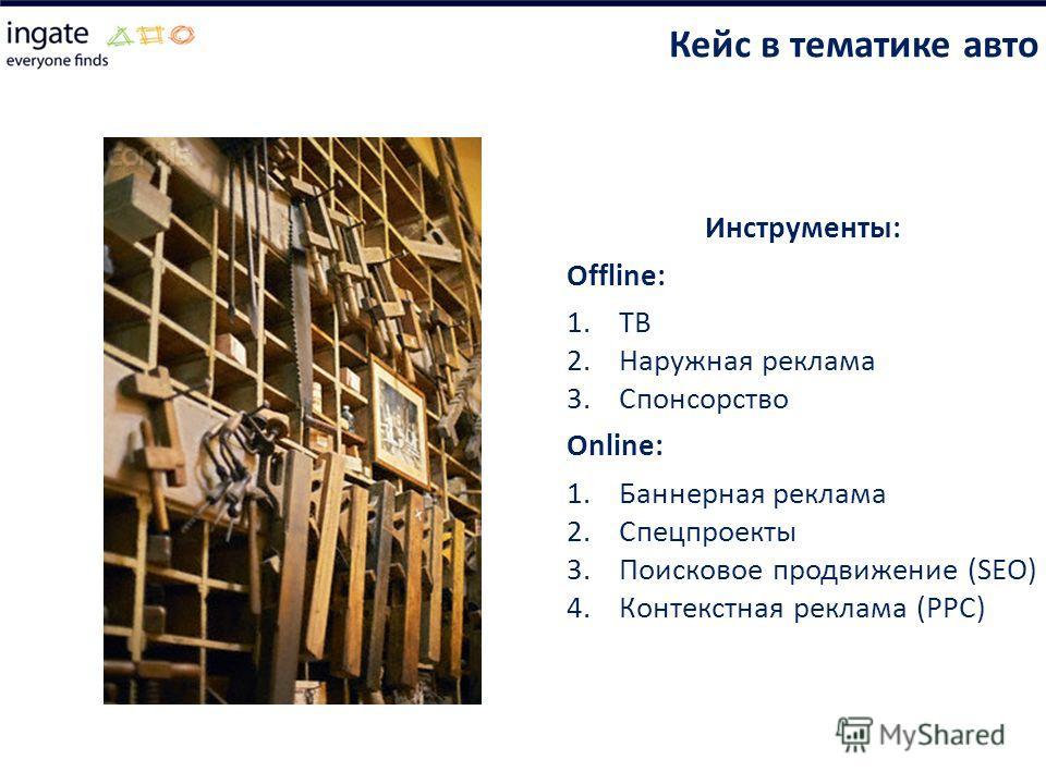 Инструменты: Offline: 1.ТВ 2.Наружная реклама 3.Спонсорство Online: 1.Баннерная реклама 2.Спецпроекты 3.Поисковое продвижение (SEO) 4.Контекстная реклама (PPC) Кейс в тематике авто