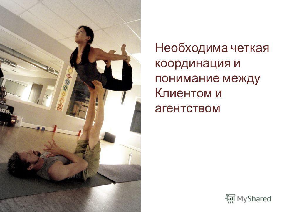 Необходима четкая координация и понимание между Клиентом и агентством