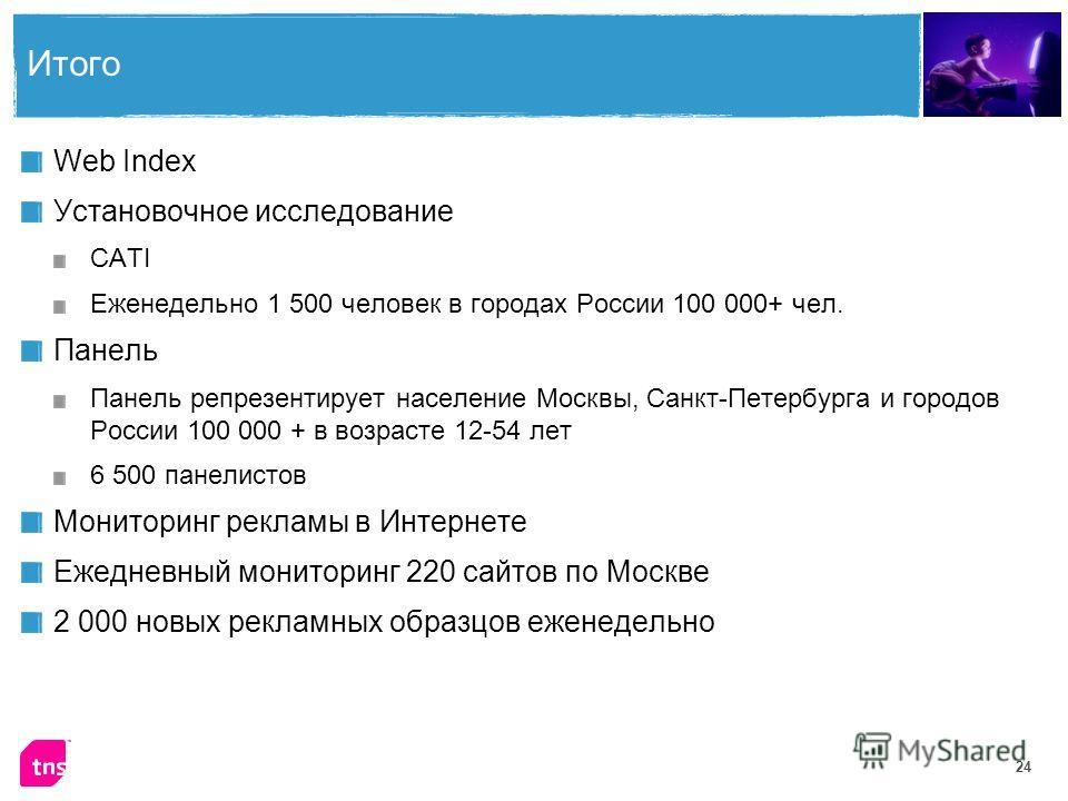 24 Итого Web Index Установочное исследование CATI Еженедельно 1 500 человек в городах России 100 000+ чел. Панель Панель репрезентирует население Москвы, Санкт-Петербурга и городов России 100 000 + в возрасте 12-54 лет 6 500 панелистов Мониторинг рек