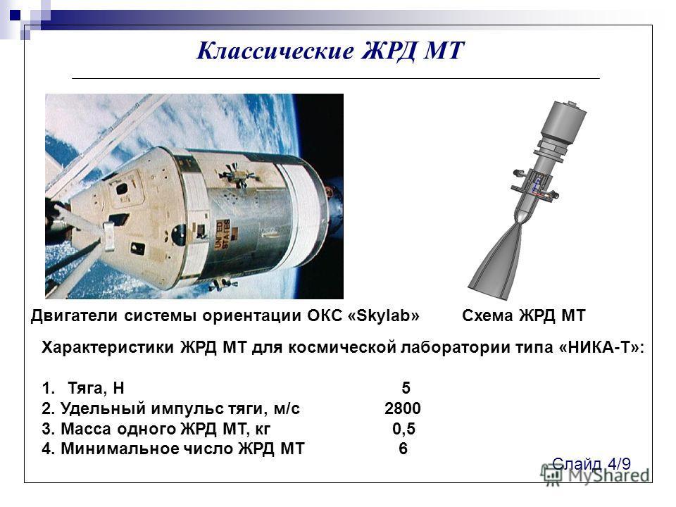 Классические ЖРД МТ Характеристики ЖРД МТ для космической лаборатории типа «НИКА-Т»: 1.Тяга, Н 5 2. Удельный импульс тяги, м/с 2800 3. Масса одного ЖРД МТ, кг 0,5 4. Минимальное число ЖРД МТ 6 Слайд 4/9 Двигатели системы ориентации ОКС «Skylab»Схема