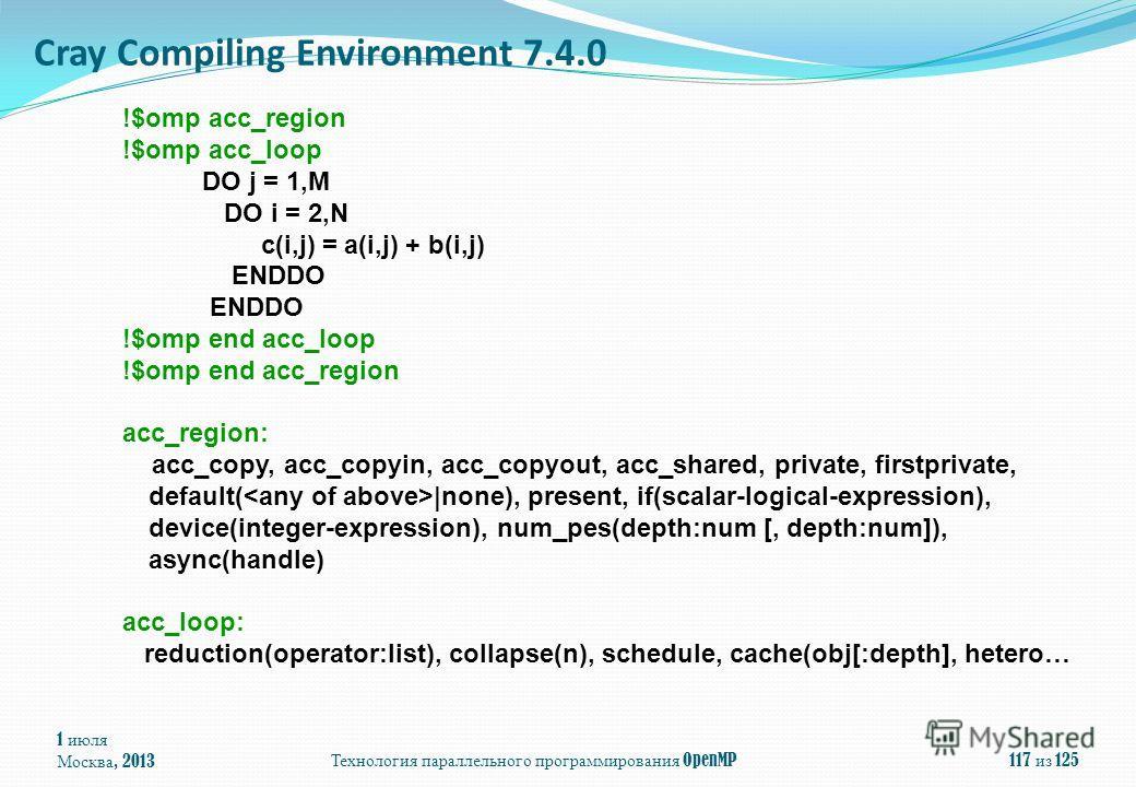 1 июля Москва, 2013Технология параллельного программирования OpenMP117 из 125 Cray Compiling Environment 7.4.0 !$omp acc_region !$omp acc_loop DO j = 1,M DO i = 2,N c(i,j) = a(i,j) + b(i,j) ENDDO !$omp end acc_loop !$omp end acc_region acc_region: ac