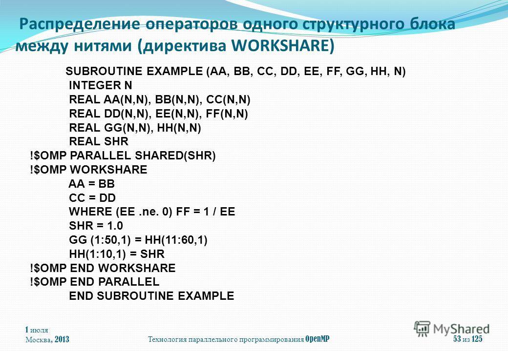 1 июля Москва, 2013 Технология параллельного программирования OpenMP 53 из 125 Распределение операторов одного структурного блока между нитями (директива WORKSHARE) SUBROUTINE EXAMPLE (AA, BB, CC, DD, EE, FF, GG, HH, N) INTEGER N REAL AA(N,N), BB(N,N