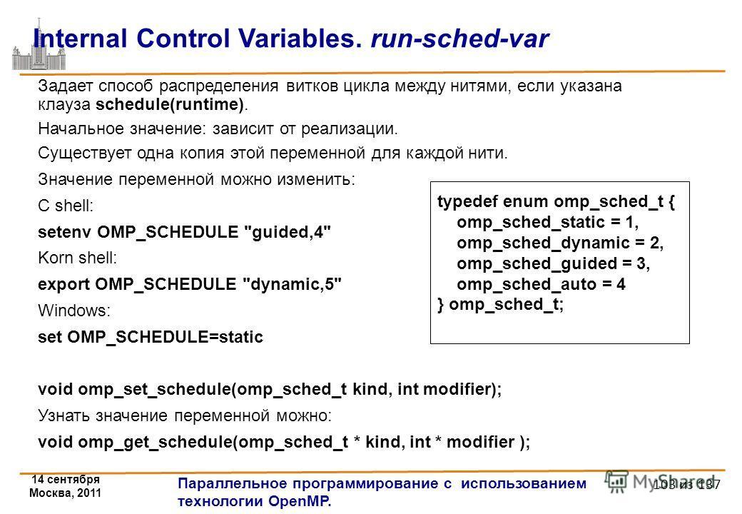 14 сентября Москва, 2011 Параллельное программирование с использованием технологии OpenMP. 103 из 137 Internal Control Variables. run-sched-var Задает способ распределения витков цикла между нитями, если указана клауза schedule(runtime). Начальное зн