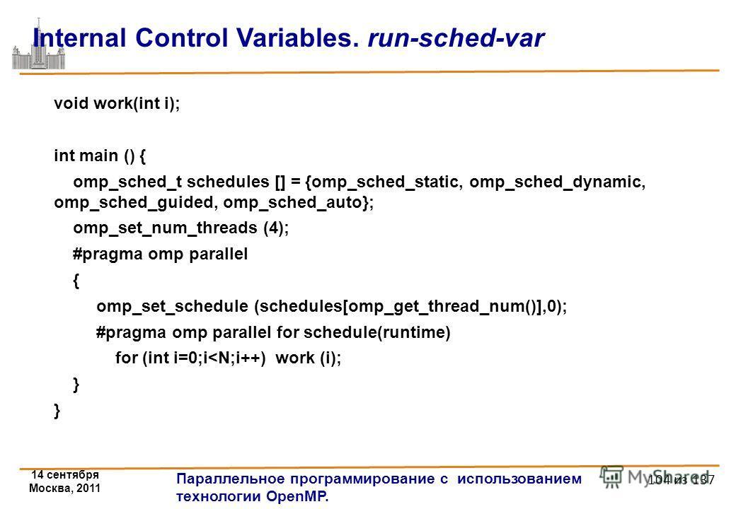 14 сентября Москва, 2011 Параллельное программирование с использованием технологии OpenMP. 104 из 137 Internal Control Variables. run-sched-var void work(int i); int main () { omp_sched_t schedules [] = {omp_sched_static, omp_sched_dynamic, omp_sched