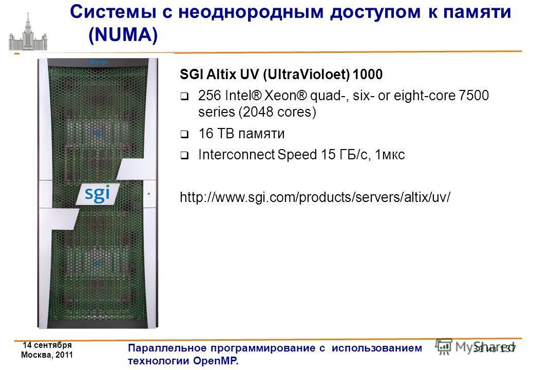 14 сентября Москва, 2011 Параллельное программирование с использованием технологии OpenMP. 31 из 137 Системы с неоднородным доступом к памяти (NUMA) SGI Altix UV (UltraVioloet) 1000 256 Intel® Xeon® quad-, six- or eight-core 7500 series (2048 cores)