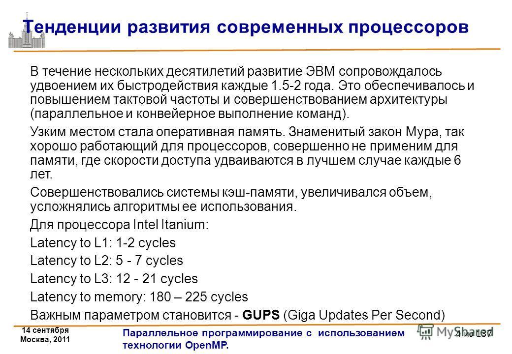 14 сентября Москва, 2011 Параллельное программирование с использованием технологии OpenMP. 4 из 137 Тенденции развития современных процессоров В течение нескольких десятилетий развитие ЭВМ сопровождалось удвоением их быстродействия каждые 1.5-2 года.
