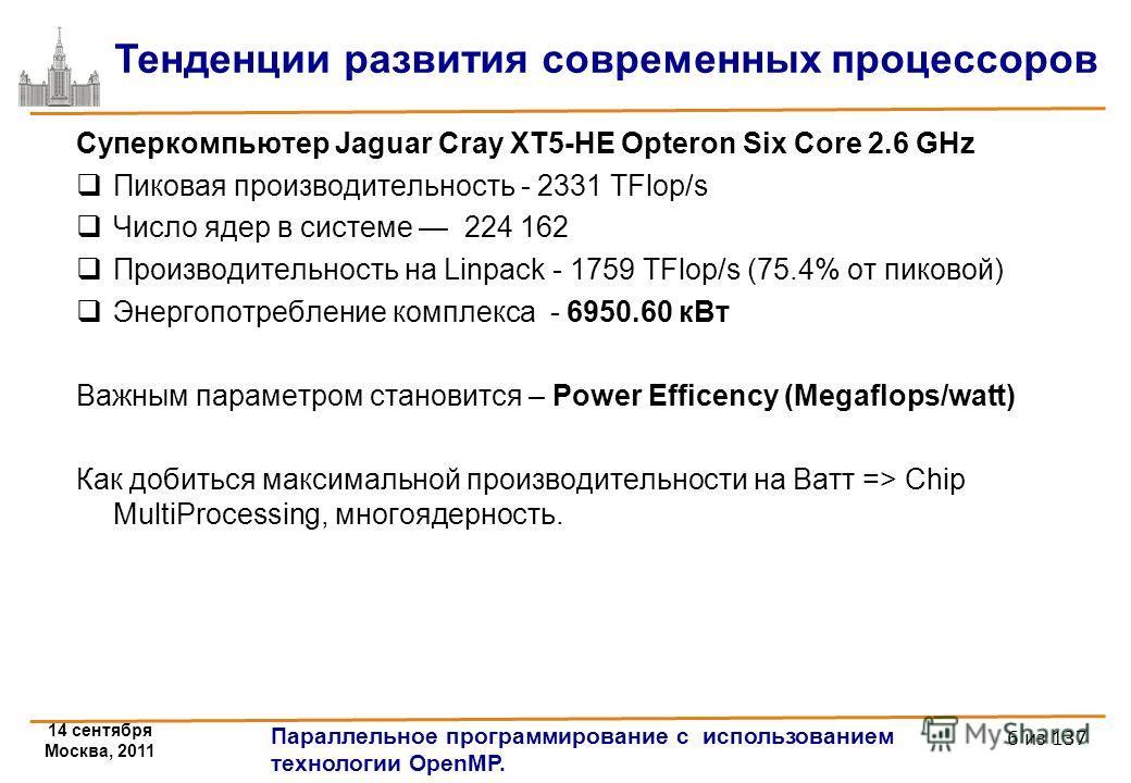 14 сентября Москва, 2011 Параллельное программирование с использованием технологии OpenMP. 6 из 137 Тенденции развития современных процессоров Суперкомпьютер Jaguar Cray XT5-HE Opteron Six Core 2.6 GHz Пиковая производительность - 2331 TFlop/s Число