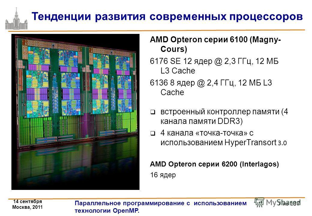 14 сентября Москва, 2011 Параллельное программирование с использованием технологии OpenMP. 7 из 137 AMD Opteron серии 6100 (Magny- Cours) 6176 SE 12 ядер @ 2,3 ГГц, 12 МБ L3 Cache 6136 8 ядер @ 2,4 ГГц, 12 МБ L3 Cache встроенный контроллер памяти (4
