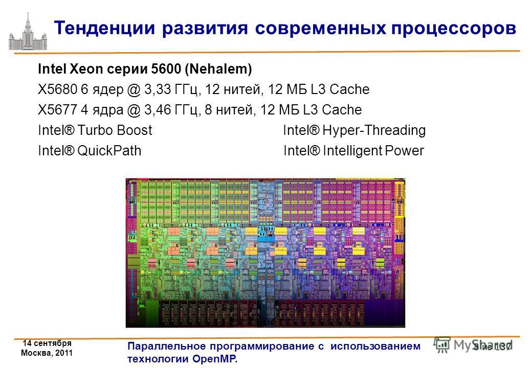 14 сентября Москва, 2011 Параллельное программирование с использованием технологии OpenMP. 8 из 137 Intel Xeon серии 5600 (Nehalem) X5680 6 ядер @ 3,33 ГГц, 12 нитей, 12 МБ L3 Cache X5677 4 ядра @ 3,46 ГГц, 8 нитей, 12 МБ L3 Cache Intel® Turbo Boost