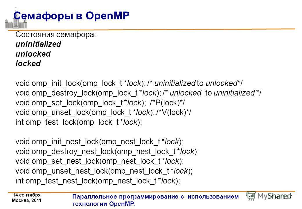 14 сентября Москва, 2011 Параллельное программирование с использованием технологии OpenMP. 94 из 137 Состояния семафора: uninitialized unlocked locked void omp_init_lock(omp_lock_t *lock); /* uninitialized to unlocked*/ void omp_destroy_lock(omp_lock