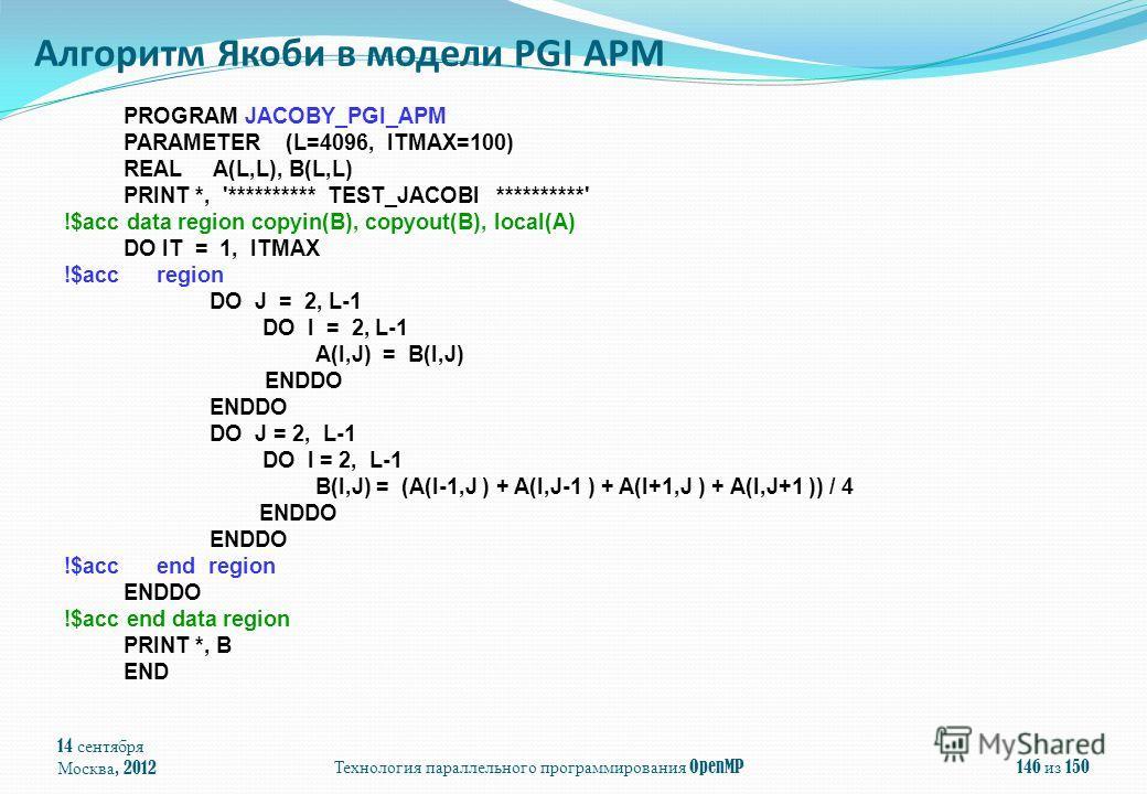 14 сентября Москва, 2012Технология параллельного программирования OpenMP146 из 150 Алгоритм Якоби в модели PGI APM PROGRAM JACOBY_PGI_APM PARAMETER (L=4096, ITMAX=100) REAL A(L,L), B(L,L) PRINT *, '********** TEST_JACOBI **********' !$acc data region