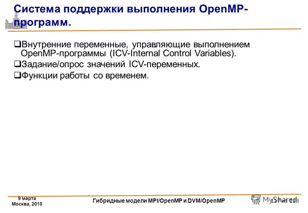 9 марта Москва, 2010 Гибридные модели MPI/OpenMP и DVM/OpenMP 117 из 123 Система поддержки выполнения OpenMP- программ. Внутренние переменные, управляющие выполнением OpenMP-программы (ICV-Internal Control Variables). Задание/опрос значений ICV-перем