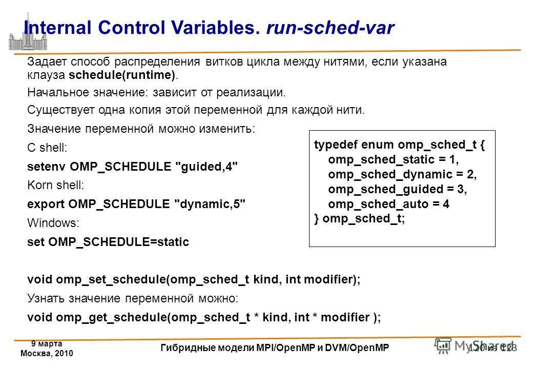 9 марта Москва, 2010 Гибридные модели MPI/OpenMP и DVM/OpenMP 120 из 123 Internal Control Variables. run-sched-var Задает способ распределения витков цикла между нитями, если указана клауза schedule(runtime). Начальное значение: зависит от реализации