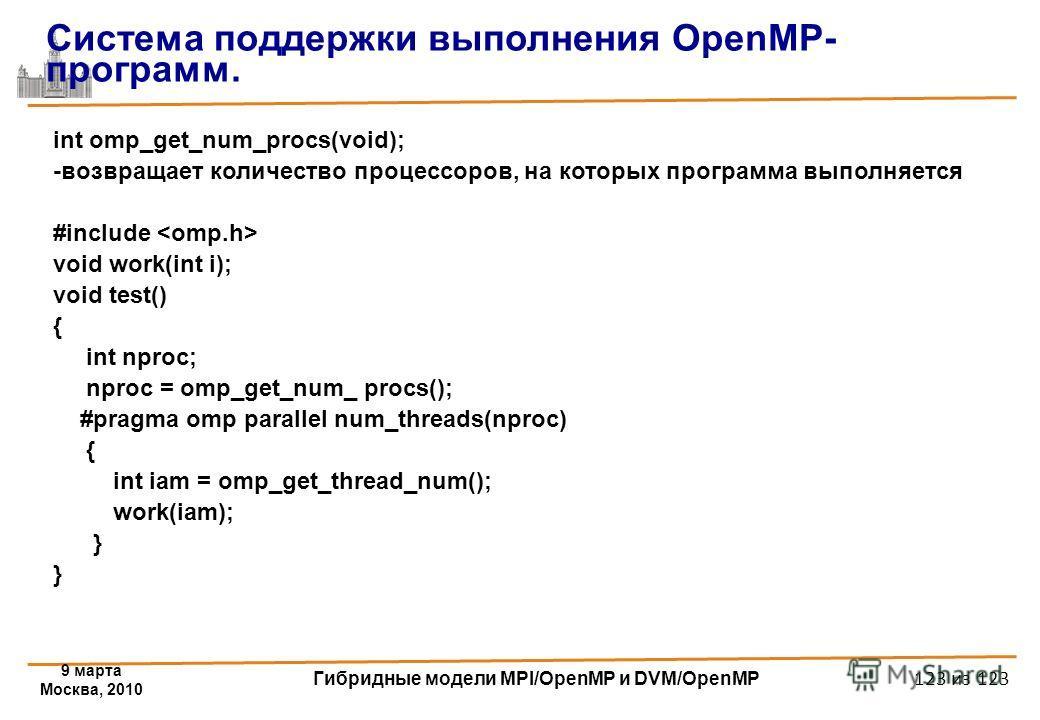 9 марта Москва, 2010 Гибридные модели MPI/OpenMP и DVM/OpenMP 123 из 123 int omp_get_num_procs(void); -возвращает количество процессоров, на которых программа выполняется #include void work(int i); void test() { int nproc; nproc = omp_get_num_ procs(