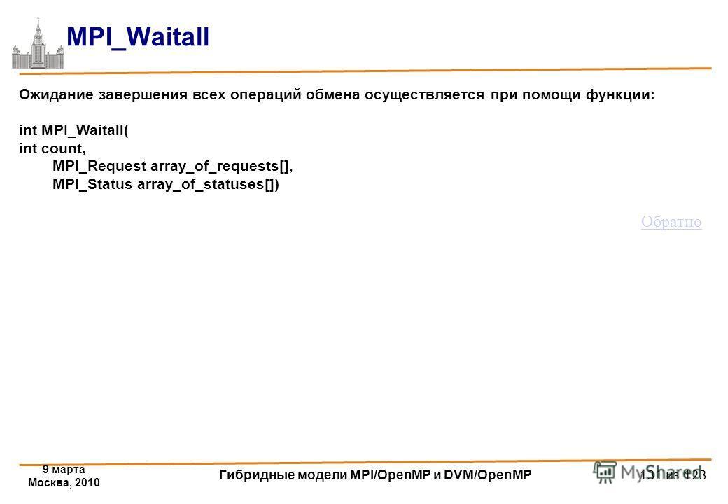 9 марта Москва, 2010 Гибридные модели MPI/OpenMP и DVM/OpenMP 131 из 123 MPI_Waitall Ожидание завершения всех операций обмена осуществляется при помощи функции: int MPI_Waitall( int count, MPI_Request array_of_requests[], MPI_Status array_of_statuses