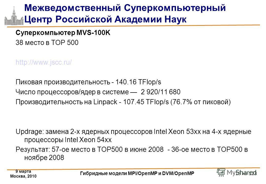 9 марта Москва, 2010 Гибридные модели MPI/OpenMP и DVM/OpenMP 15 из 123 Межведомственный Суперкомпьютерный Центр Российской Академии Наук Суперкомпьютер MVS-100K 38 место в TOP 500 http://www.jscc.ru/ Пиковая производительность - 140.16 TFlop/s Число