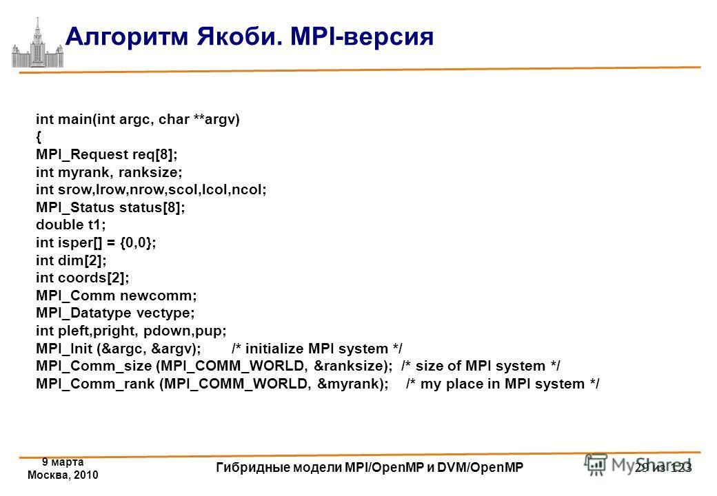 9 марта Москва, 2010 Гибридные модели MPI/OpenMP и DVM/OpenMP 29 из 123 Алгоритм Якоби. MPI-версия int main(int argc, char **argv) { MPI_Request req[8]; int myrank, ranksize; int srow,lrow,nrow,scol,lcol,ncol; MPI_Status status[8]; double t1; int isp