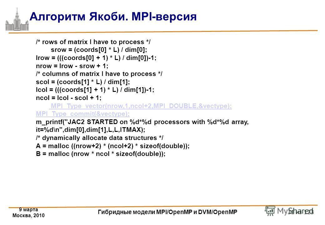 9 марта Москва, 2010 Гибридные модели MPI/OpenMP и DVM/OpenMP 31 из 123 Алгоритм Якоби. MPI-версия /* rows of matrix I have to process */ srow = (coords[0] * L) / dim[0]; lrow = (((coords[0] + 1) * L) / dim[0])-1; nrow = lrow - srow + 1; /* columns o