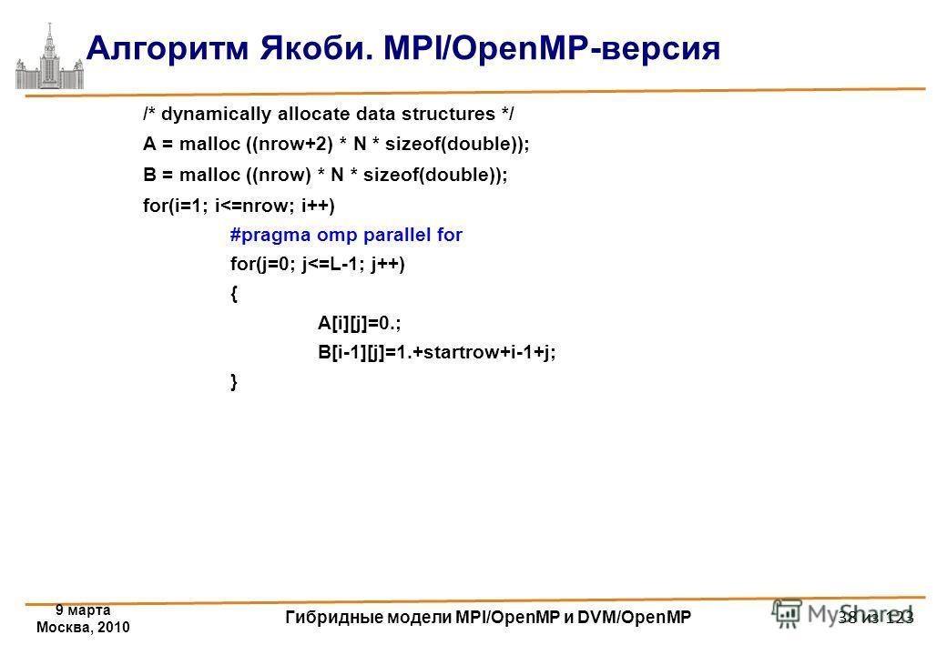 9 марта Москва, 2010 Гибридные модели MPI/OpenMP и DVM/OpenMP 38 из 123 Алгоритм Якоби. MPI/OpenMP-версия /* dynamically allocate data structures */ A = malloc ((nrow+2) * N * sizeof(double)); B = malloc ((nrow) * N * sizeof(double)); for(i=1; i