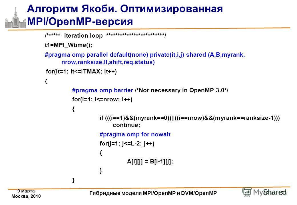 9 марта Москва, 2010 Гибридные модели MPI/OpenMP и DVM/OpenMP 42 из 123 Алгоритм Якоби. Оптимизированная MPI/OpenMP-версия /****** iteration loop *************************/ t1=MPI_Wtime(); #pragma omp parallel default(none) private(it,i,j) shared (A,