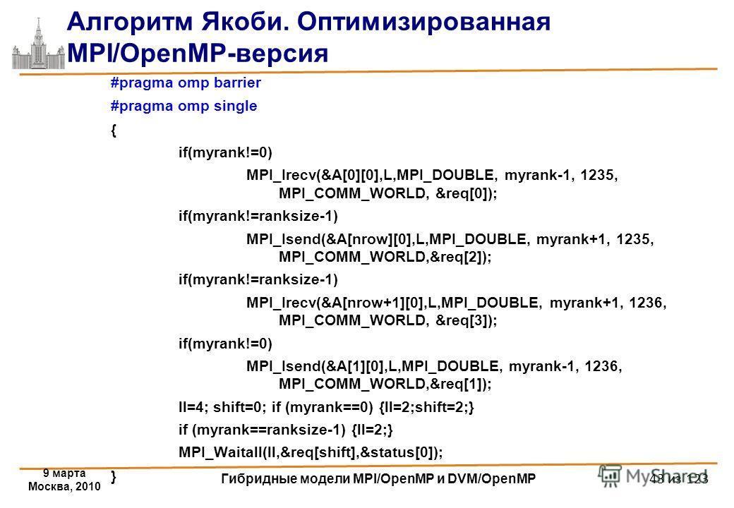 9 марта Москва, 2010 Гибридные модели MPI/OpenMP и DVM/OpenMP 43 из 123 Алгоритм Якоби. Оптимизированная MPI/OpenMP-версия #pragma omp barrier #pragma omp single { if(myrank!=0) MPI_Irecv(&A[0][0],L,MPI_DOUBLE, myrank-1, 1235, MPI_COMM_WORLD, &req[0]
