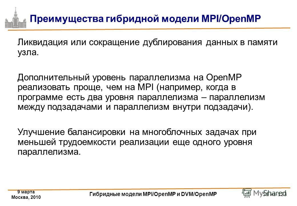 9 марта Москва, 2010 Гибридные модели MPI/OpenMP и DVM/OpenMP 51 из 123 Ликвидация или сокращение дублирования данных в памяти узла. Дополнительный уровень параллелизма на OpenMP реализовать проще, чем на MPI (например, когда в программе есть два уро