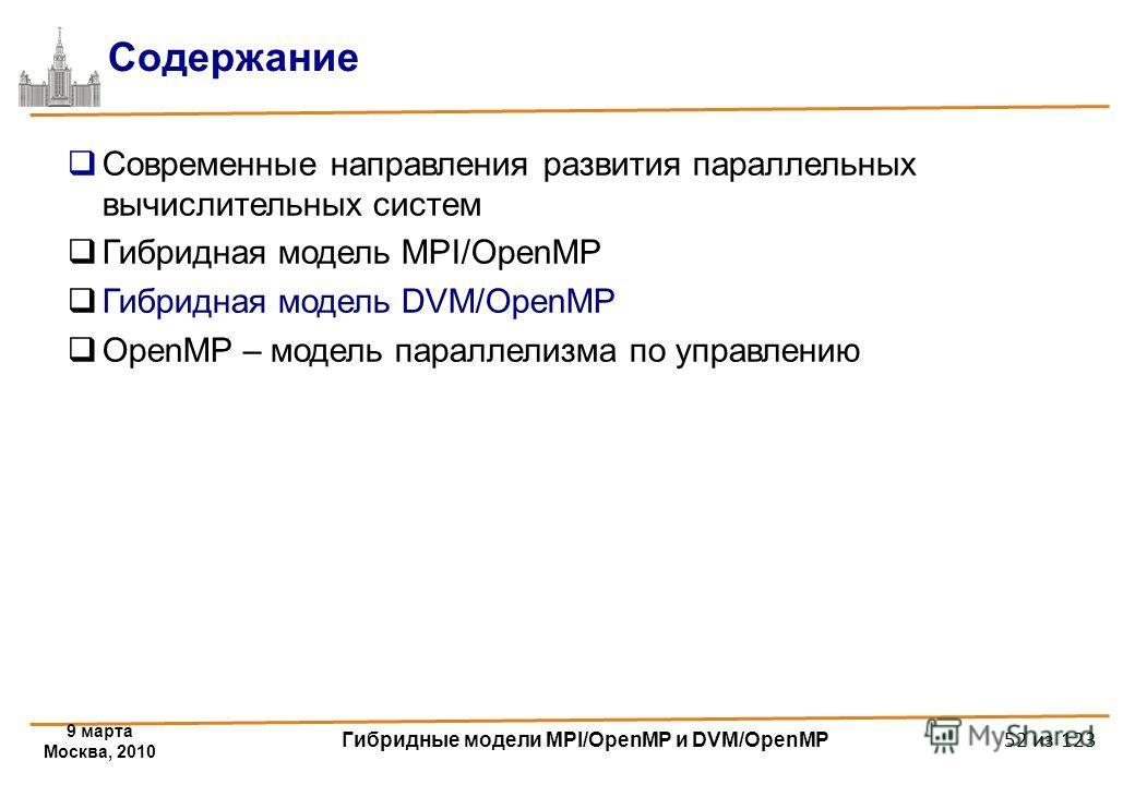 9 марта Москва, 2010 Гибридные модели MPI/OpenMP и DVM/OpenMP 52 из 123 Содержание Современные направления развития параллельных вычислительных систем Гибридная модель MPI/OpenMP Гибридная модель DVM/OpenMP OpenMP – модель параллелизма по управлению