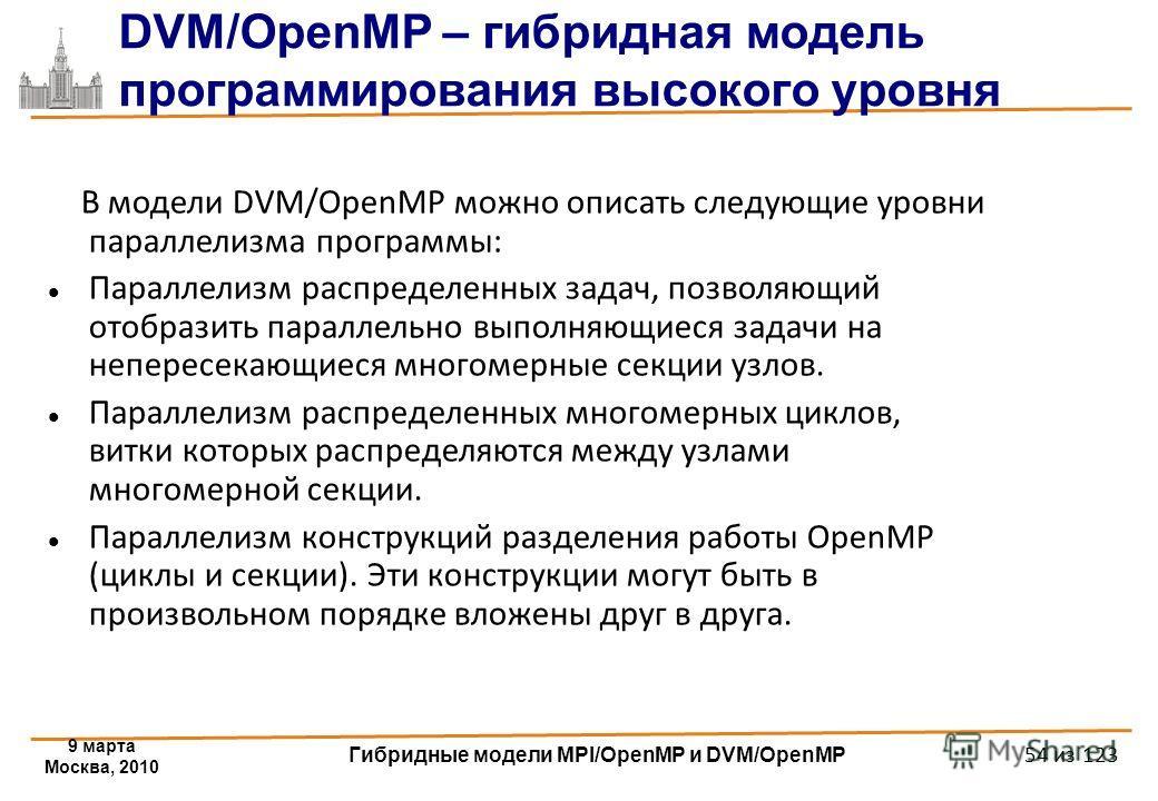 9 марта Москва, 2010 Гибридные модели MPI/OpenMP и DVM/OpenMP 54 из 123 DVM/OpenMP – гибридная модель программирования высокого уровня В модели DVM/OpenMP можно описать следующие уровни параллелизма программы: Параллелизм распределенных задач, позвол