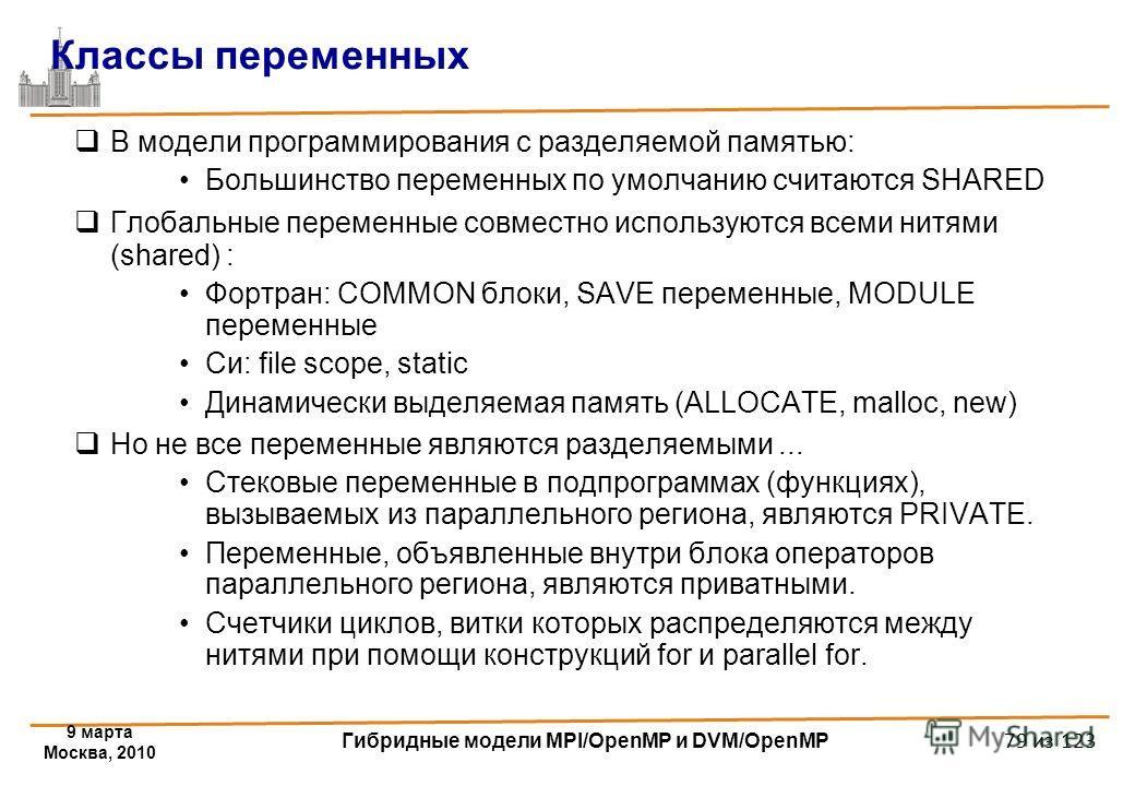 9 марта Москва, 2010 Гибридные модели MPI/OpenMP и DVM/OpenMP 79 из 123 Классы переменных В модели программирования с разделяемой памятью: Большинство переменных по умолчанию считаются SHARED Глобальные переменные совместно используются всеми нитями