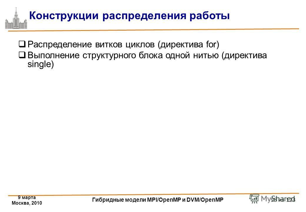 9 марта Москва, 2010 Гибридные модели MPI/OpenMP и DVM/OpenMP 95 из 123 Конструкции распределения работы Распределение витков циклов (директива for) Выполнение структурного блока одной нитью (директива single)
