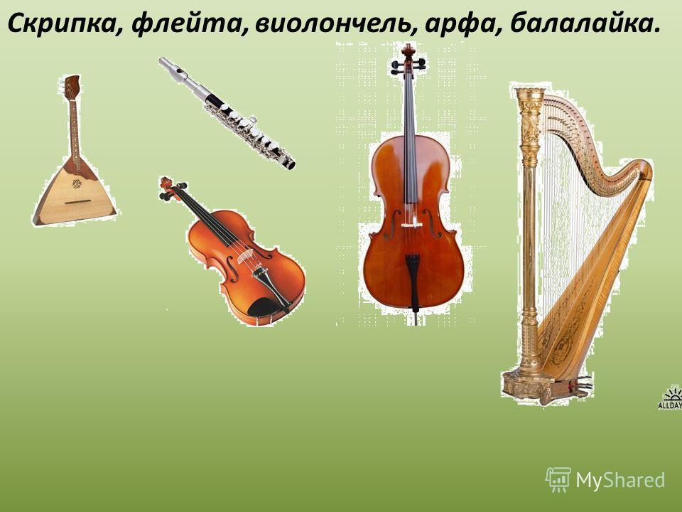 Скрипка, флейта, виолончель, арфа, балалайка.