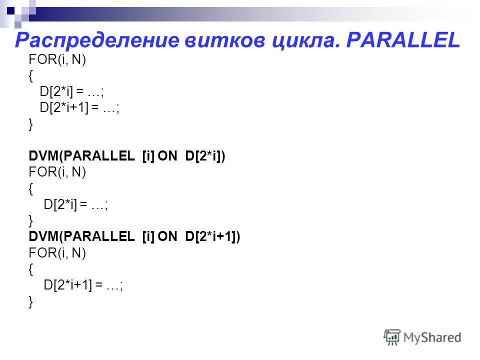 Распределение витков цикла. PARALLEL FOR(i, N) { D[2*i] = …; D[2*i+1] = …; } DVM(PARALLEL [i] ON D[2*i]) FOR(i, N) { D[2*i] = …; } DVM(PARALLEL [i] ON D[2*i+1]) FOR(i, N) { D[2*i+1] = …; }