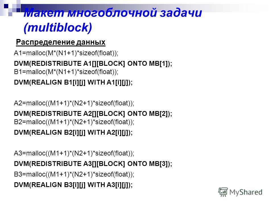 Макет многоблочной задачи (multiblock) Распределение данных A1=malloc(M*(N1+1)*sizeof(float)); DVM(REDISTRIBUTE A1[][BLOCK] ONTO MB[1]); B1=malloc(M*(N1+1)*sizeof(float)); DVM(REALIGN B1[i][j] WITH A1[i][j]); A2=malloc((M1+1)*(N2+1)*sizeof(float)); D