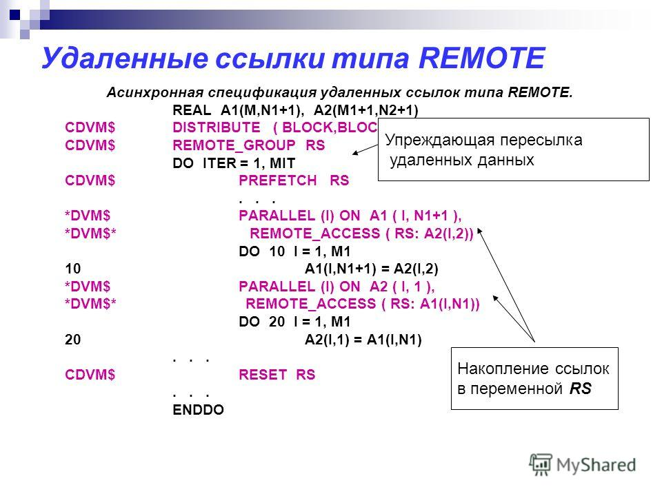 Удаленные ссылки типа REMOTE Асинхронная спецификация удаленных ссылок типа REMOTE. REAL A1(M,N1+1), A2(M1+1,N2+1) CDVM$DISTRIBUTE ( BLOCK,BLOCK) :: A1, A2 CDVM$REMOTE_GROUP RS DO ITER = 1, MIT CDVM$PREFETCH RS... *DVM$ PARALLEL (I) ON A1 ( I, N1+1 )