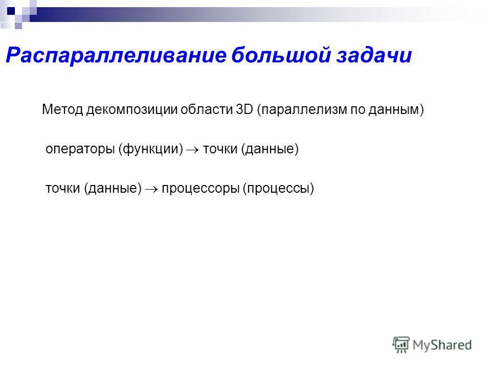 Распараллеливание большой задачи Метод декомпозиции области 3D (параллелизм по данным) операторы (функции) точки (данные) точки (данные) процессоры (процессы)