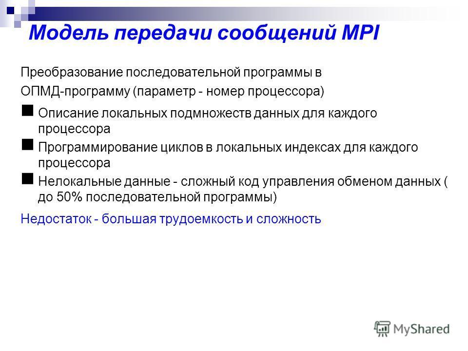 Модель передачи сообщений MPI Преобразование последовательной программы в ОПМД-программу (параметр - номер процессора) Описание локальных подмножеств данных для каждого процессора Программирование циклов в локальных индексах для каждого процессора Не
