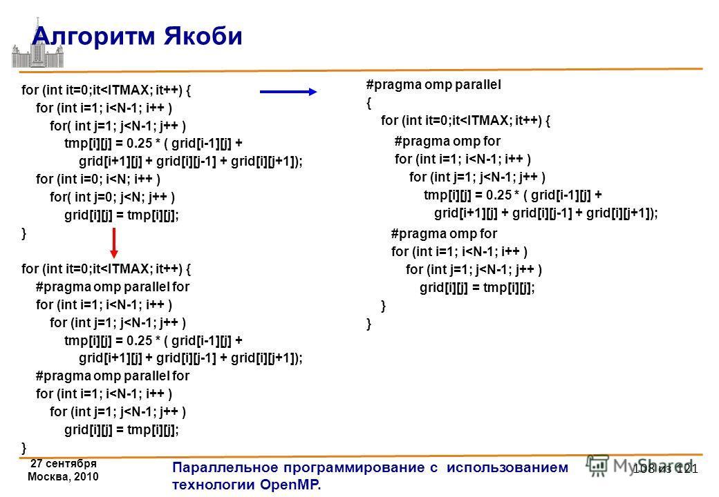 27 сентября Москва, 2010 Параллельное программирование с использованием технологии OpenMP. 108 из 121 Алгоритм Якоби for (int it=0;it