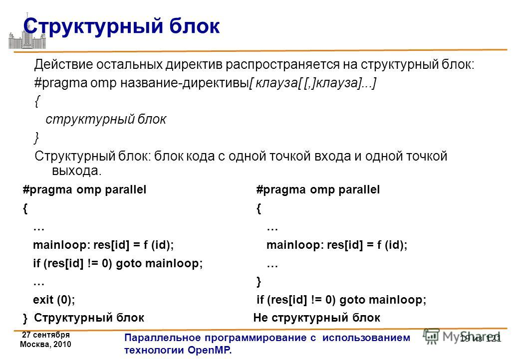 27 сентября Москва, 2010 Параллельное программирование с использованием технологии OpenMP. 19 из 121 Структурный блок Действие остальных директив распространяется на структурный блок: #pragma omp название-директивы[ клауза[ [,]клауза]...] { структурн