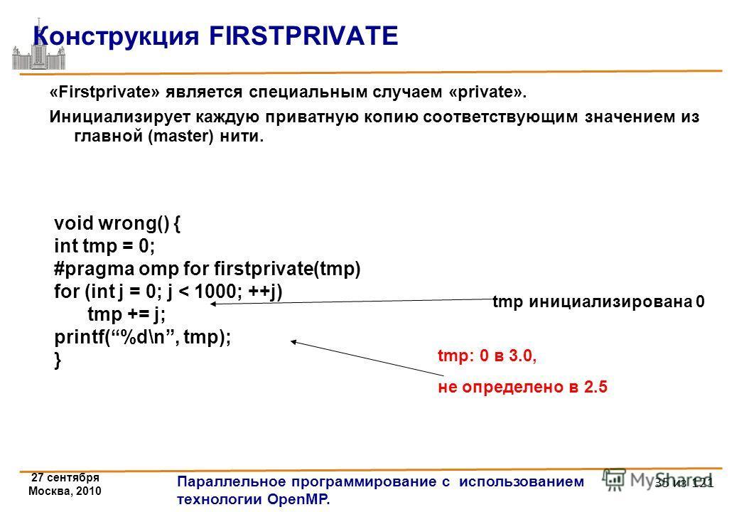 27 сентября Москва, 2010 Параллельное программирование с использованием технологии OpenMP. 35 из 121 Конструкция FIRSTPRIVATE «Firstprivate» является специальным случаем «private». Инициализирует каждую приватную копию соответствующим значением из гл