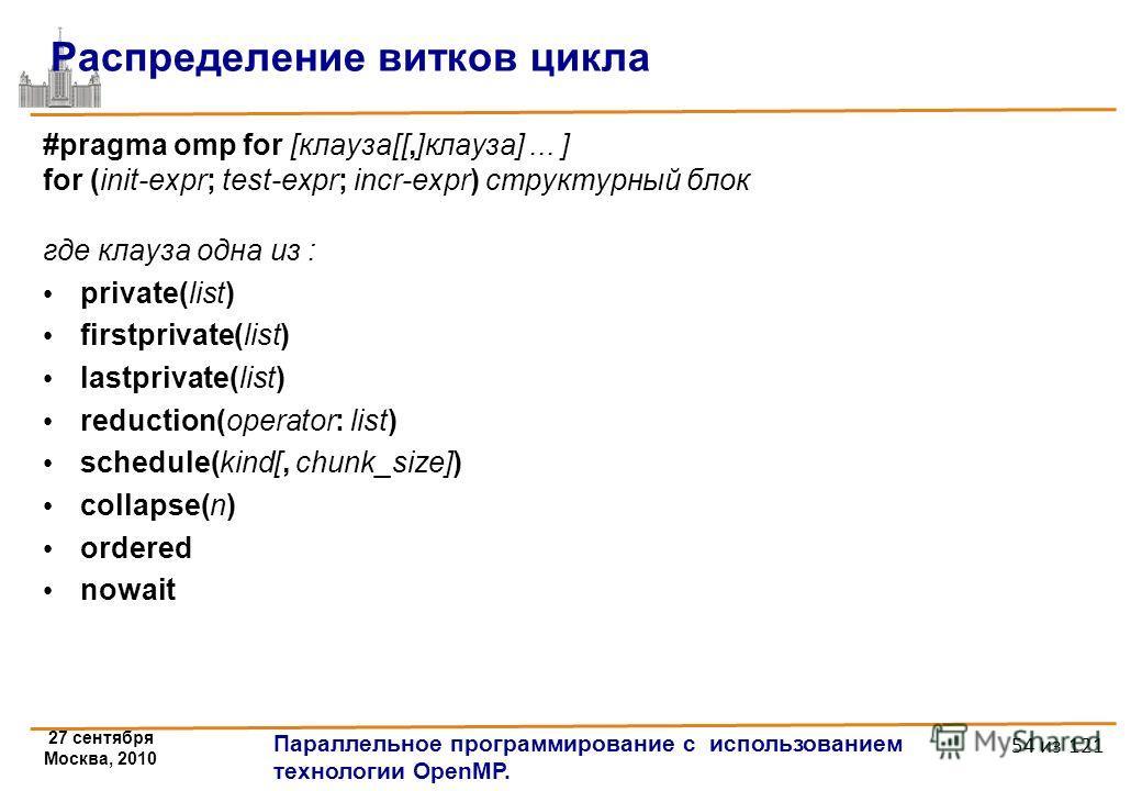 27 сентября Москва, 2010 Параллельное программирование с использованием технологии OpenMP. 54 из 121 Распределение витков цикла #pragma omp for [клауза[[,]клауза]... ] for (init-expr; test-expr; incr-expr) структурный блок где клауза одна из : privat