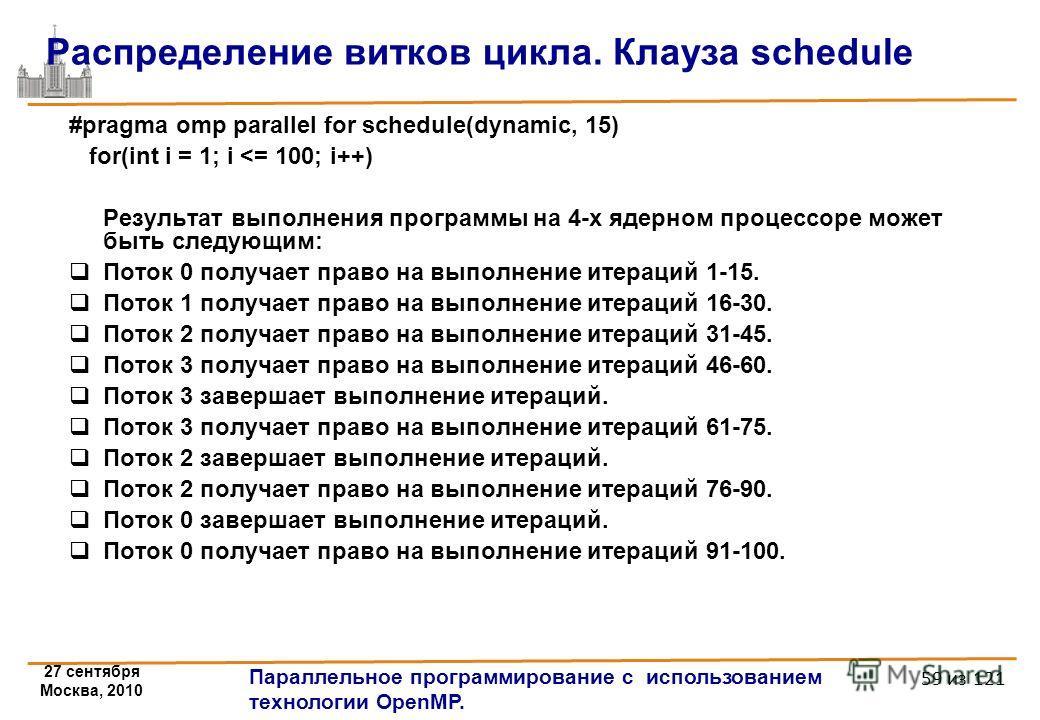 27 сентября Москва, 2010 Параллельное программирование с использованием технологии OpenMP. 59 из 121 Распределение витков цикла. Клауза schedule #pragma omp parallel for schedule(dynamic, 15) for(int i = 1; i