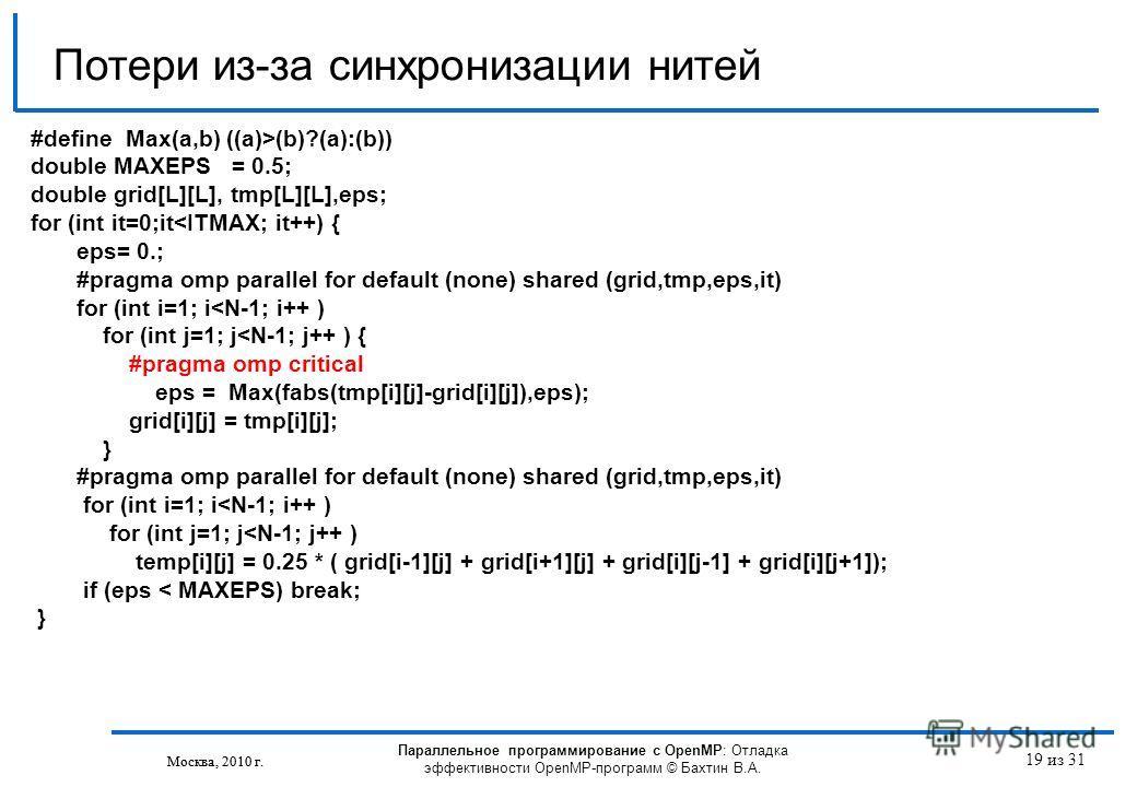 Параллельное программирование с OpenMP: Отладка эффективности OpenMP-программ © Бахтин В.А. Москва, 2010 г. 19 из 31 Потери из-за синхронизации нитей Москва, 2010 г. #define Max(a,b) ((a)>(b)?(a):(b)) double MAXEPS = 0.5; double grid[L][L], tmp[L][L]