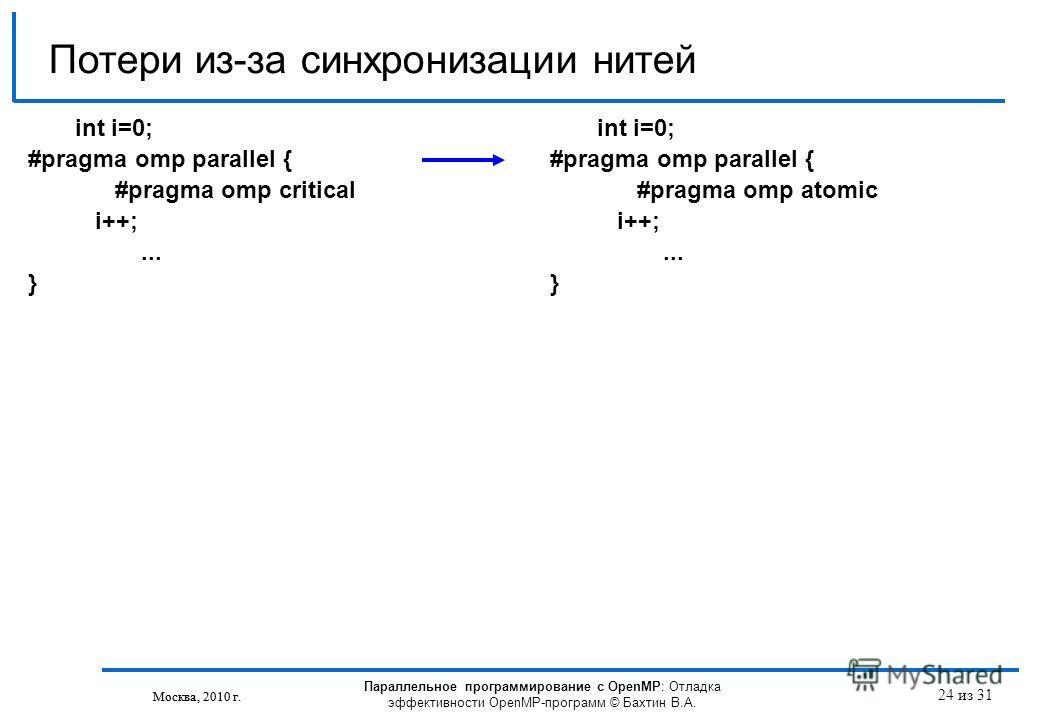 Параллельное программирование с OpenMP: Отладка эффективности OpenMP-программ © Бахтин В.А. Москва, 2010 г. 24 из 31 Потери из-за синхронизации нитей Москва, 2010 г. int i=0; #pragma omp parallel { #pragma omp critical i++;... } int i=0; #pragma omp