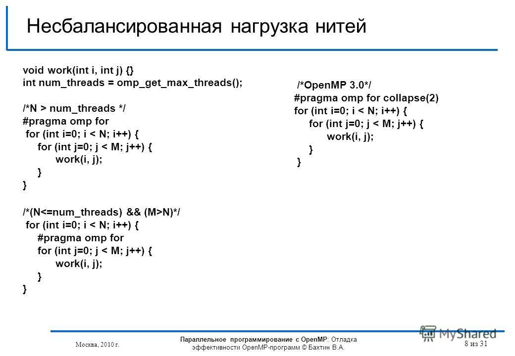 Параллельное программирование с OpenMP: Отладка эффективности OpenMP-программ © Бахтин В.А. Москва, 2010 г. 8 из 31 Несбалансированная нагрузка нитей void work(int i, int j) {} int num_threads = omp_get_max_threads(); /*N > num_threads */ #pragma omp