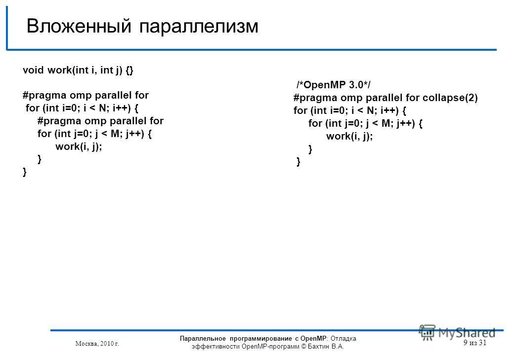 Параллельное программирование с OpenMP: Отладка эффективности OpenMP-программ © Бахтин В.А. Москва, 2010 г. 9 из 31 Вложенный параллелизм void work(int i, int j) {} #pragma omp parallel for for (int i=0; i < N; i++) { #pragma omp parallel for for (in