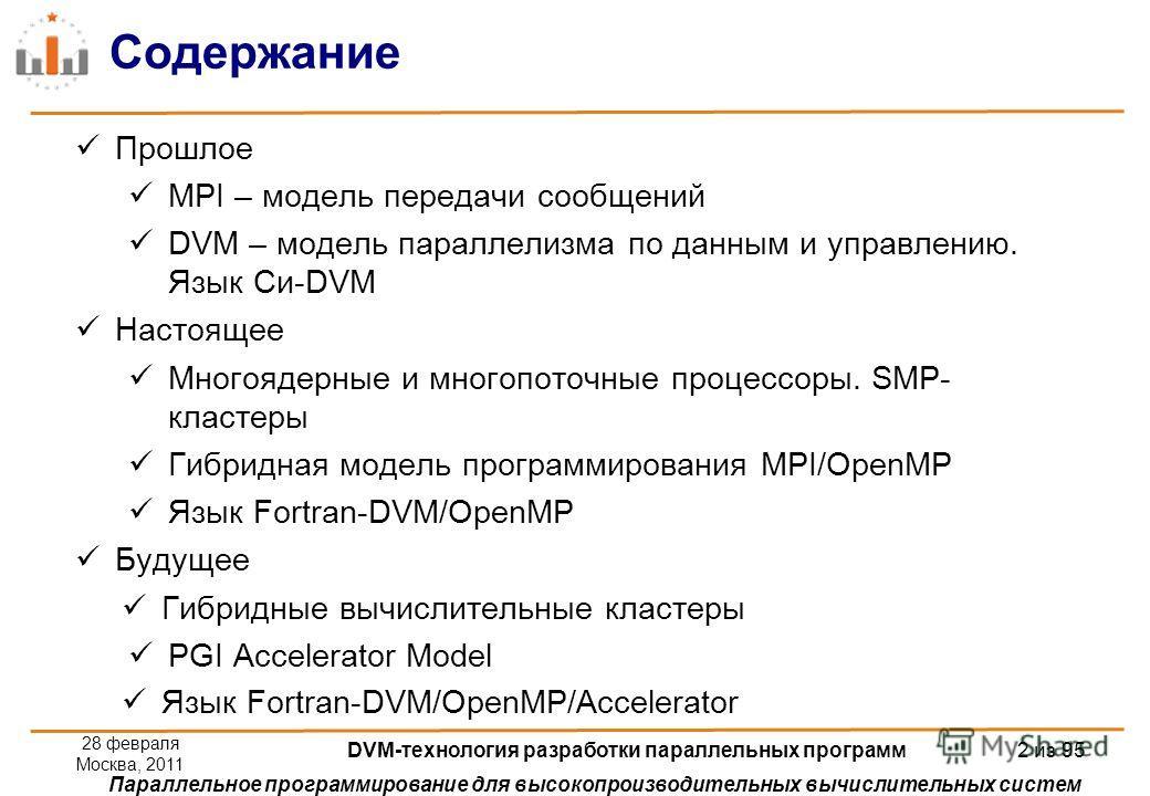 Параллельное программирование для высокопроизводительных вычислительных систем Содержание Прошлое MPI – модель передачи сообщений DVM – модель параллелизма по данным и управлению. Язык Си-DVM Настоящее Многоядерные и многопоточные процессоры. SMP- кл
